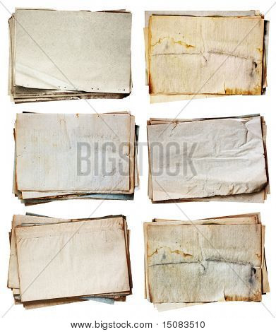 stack of old papers set isolated on white background with clipping path