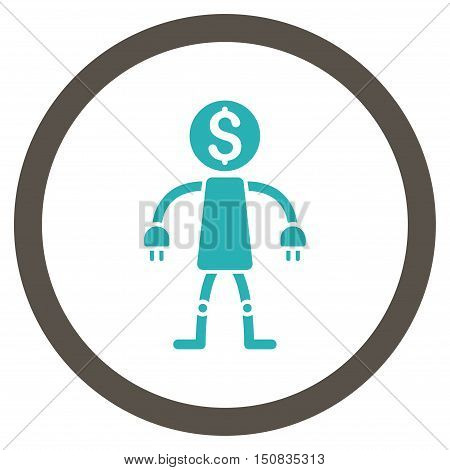 Bank Robot vector bicolor rounded icon. Image style is a flat icon symbol inside a circle, grey and cyan colors, white background.