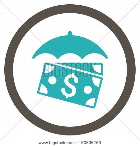 Banknotes Umbrella vector bicolor rounded icon. Image style is a flat icon symbol inside a circle, grey and cyan colors, white background.
