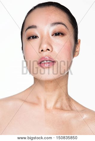 Beauty retouching techniques makeup and skincare on white background