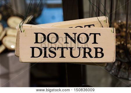 Wooden Do Not Disturb Sign Black Text Printed Decoration Hanging Door Warning