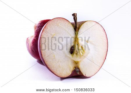 Bright Red Apple Cross Section Slice Cut Cross Section Inside Closeup Detail Fresh Fruit White Isola