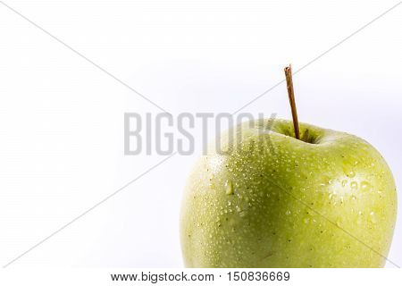Granny Smith Green Bright Apple Fruit Healthy Food White Isolated Background