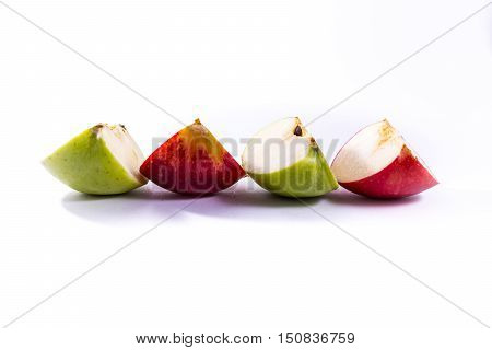 Green Red Apple Slices Fresh Fruit Delicious Quarters Pieces Snack White Isolated Background