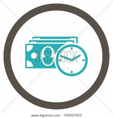 Cash Credit vector bicolor rounded icon. Image style is a flat icon symbol inside a circle, grey and cyan colors, white background.