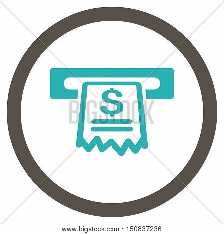 Cashier Receipt vector bicolor rounded icon. Image style is a flat icon symbol inside a circle, grey and cyan colors, white background.