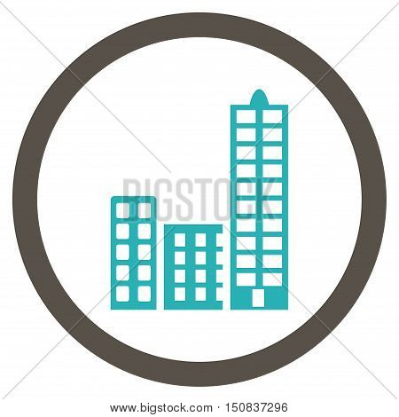 City vector bicolor rounded icon. Image style is a flat icon symbol inside a circle, grey and cyan colors, white background.