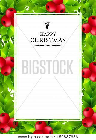 Christmas background with holly leaves, red holly berries and ornamental snowflakes. Winter holiday poster with decorations and greeting text. Vertical vector illustration.