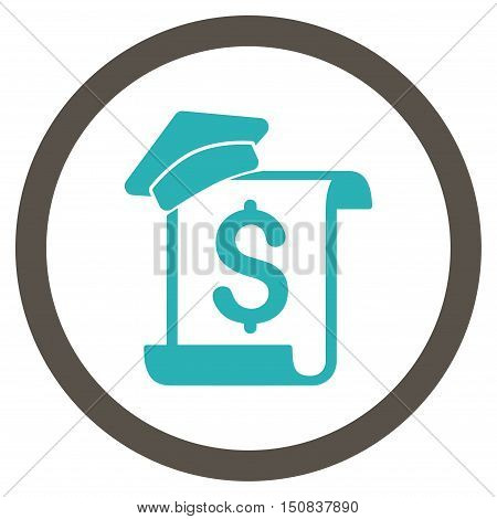 Education Invoice vector bicolor rounded icon. Image style is a flat icon symbol inside a circle, grey and cyan colors, white background.