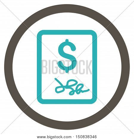 Invoice Page vector bicolor rounded icon. Image style is a flat icon symbol inside a circle, grey and cyan colors, white background.