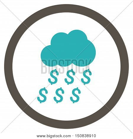 Money Rain vector bicolor rounded icon. Image style is a flat icon symbol inside a circle, grey and cyan colors, white background.