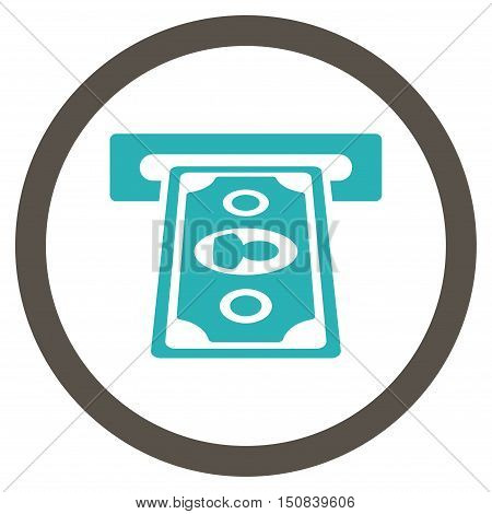 Payment Terminal vector bicolor rounded icon. Image style is a flat icon symbol inside a circle, grey and cyan colors, white background.