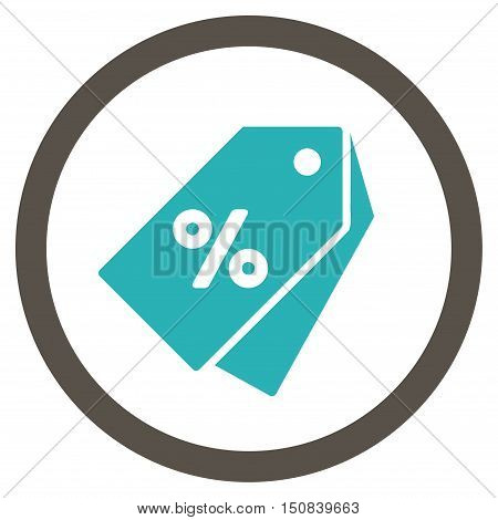 Percent Discount Tags vector bicolor rounded icon. Image style is a flat icon symbol inside a circle, grey and cyan colors, white background.