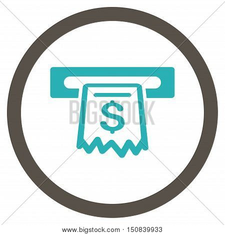 Receipt Terminal vector bicolor rounded icon. Image style is a flat icon symbol inside a circle, grey and cyan colors, white background.