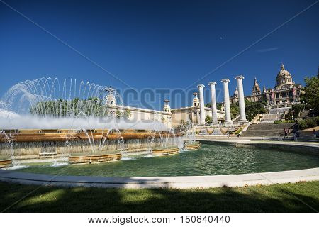 BARCELONA, SPAIN - JULY 12, 2016: Barcelona (Catalunya Spain): the hill of Montjuich and the Museum of Catalan Art and fountains
