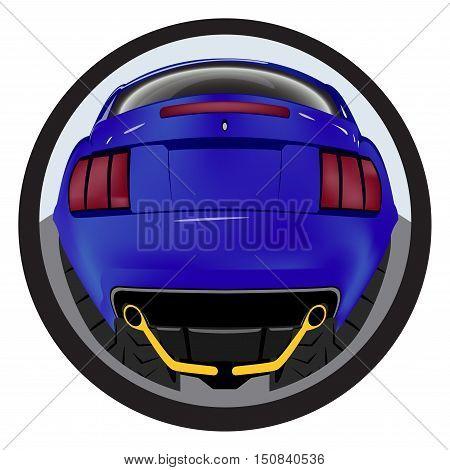 American customized muscle car a rear view. Effect fisheye