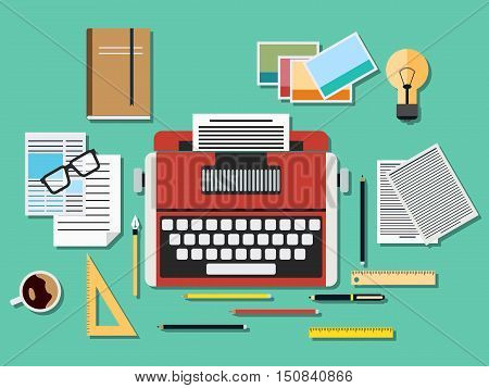 Editor workplace with old typewriter. A flat vector illustration in retro style