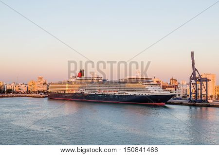 Luxury Ocean Liner at Dock in Cadiz Spain