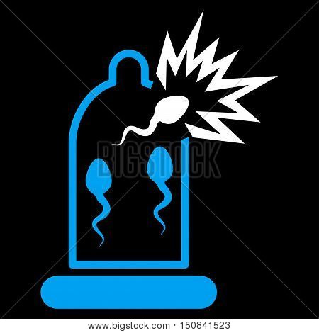 Damaged Condom With Sperm vector icon. Style is bicolor flat symbol blue and white colors rounded angles black background.