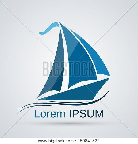 Yacht blue silhouette vector icon. Transportation, vacation, voyage, tourism symbol