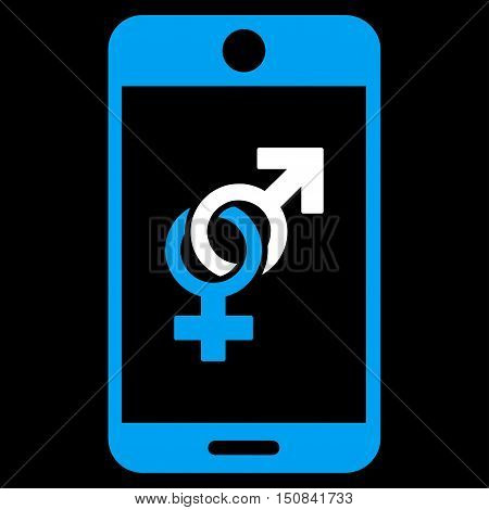 Mobile Dating vector icon. Style is bicolor flat symbol blue and white colors rounded angles black background.