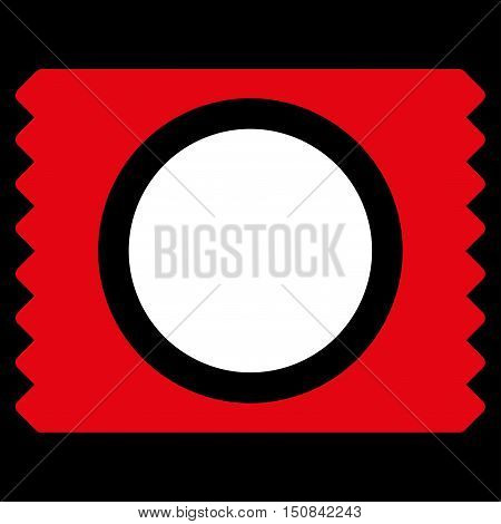 Condom Pack vector icon. Style is bicolor flat symbol red and white colors rounded angles black background.