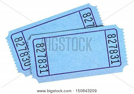 Pair Of Blank Blue Movie Or Raffle Tickets Isolated On White Background.  Space For Copy.