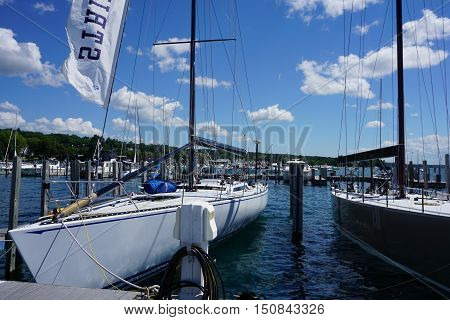 HARBOR SPRINGS, MICHIGAN / UNITED STATES - AUGUST 1, 2016: A sailboat is moored at the Harbor Springs Municipal Marina.