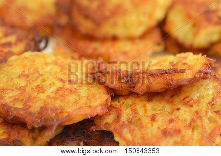 Close up of potato latkes for Hanukkah Jewish Holiday.
