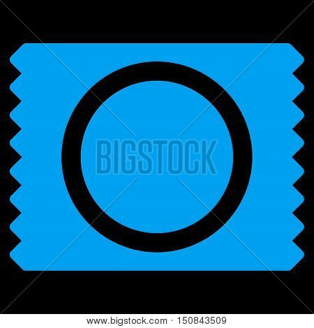 Condom Pack vector icon. Style is flat symbol blue color rounded angles black background.