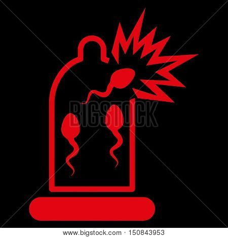 Damaged Condom With Sperm vector icon. Style is flat symbol red color rounded angles black background.