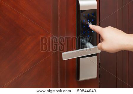 inputing passwords on an electronic door lock