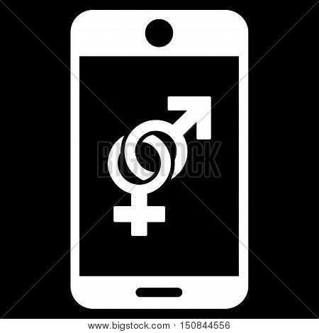 Mobile Dating vector icon. Style is flat symbol white color rounded angles black background.