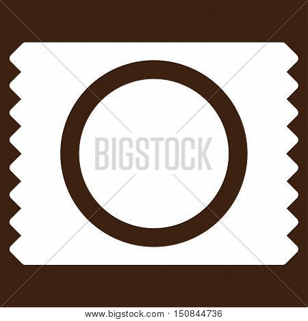 Condom Pack vector icon. Style is flat symbol white color rounded angles brown background.