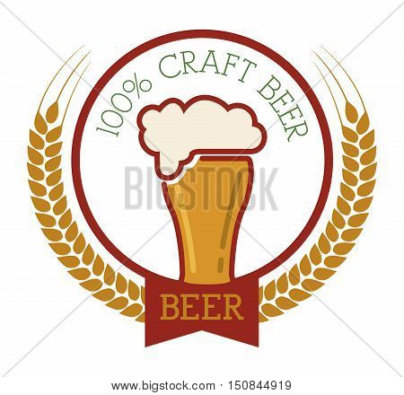 premium quality craft brew beer vector illustration design