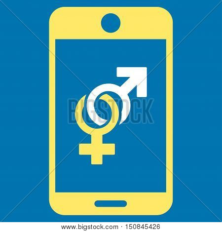Mobile Dating vector icon. Style is bicolor flat symbol yellow and white colors rounded angles blue background.