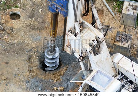 Hydraulic Hammer Drilling Machine At Construction Site