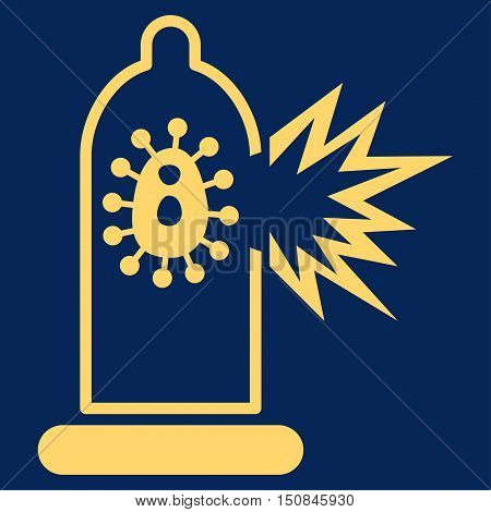 Damaged Condom With Virus vector icon. Style is flat symbol yellow color rounded angles blue background.