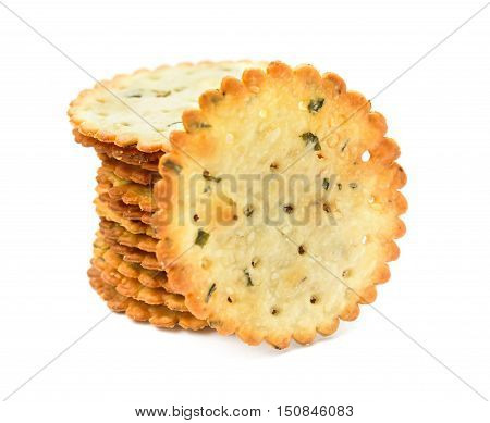 crispy crackers stack up on a white background