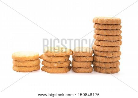 side view different sweet cookies on a white background