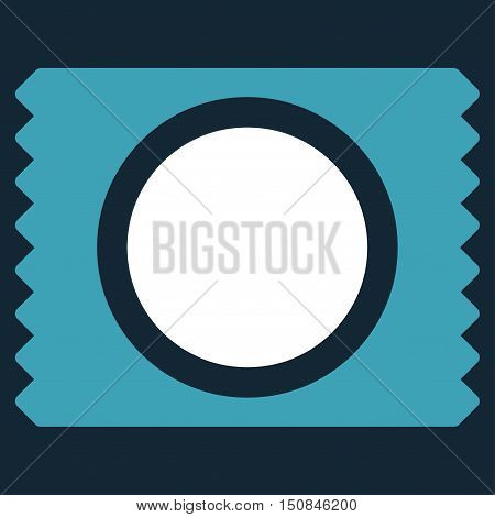 Condom Pack vector icon. Style is bicolor flat symbol blue and white colors rounded angles dark blue background.