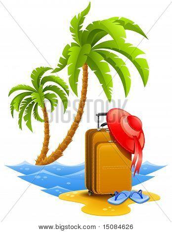 Mala de viagem de senhoras na Praia Tropical com palmeiras