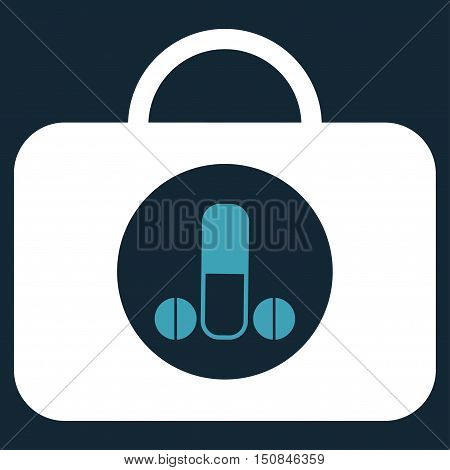 Male Sexual Toolbox vector icon. Style is bicolor flat symbol blue and white colors rounded angles dark blue background.