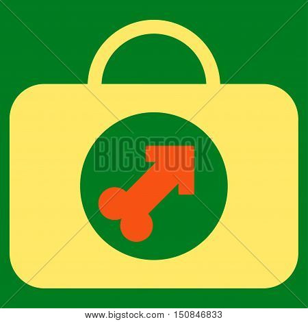 Male Erection Case vector icon. Style is bicolor flat symbol orange and yellow colors rounded angles green background.