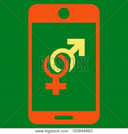 Mobile Dating vector icon. Style is bicolor flat symbol orange and yellow colors rounded angles green background.