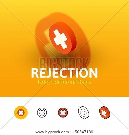 Rejection color icon, vector symbol in flat, outline and isometric style isolated on blur background