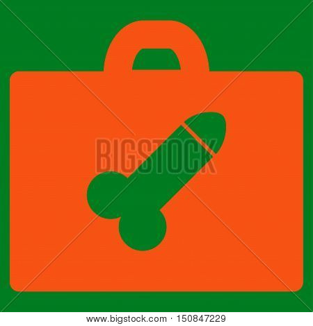 Dildo Toolbox vector icon. Style is flat symbol orange color rounded angles green background.