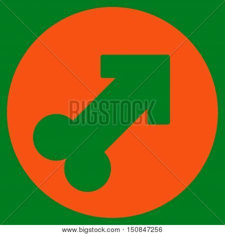 Erection vector icon. Style is flat symbol orange color rounded angles green background.