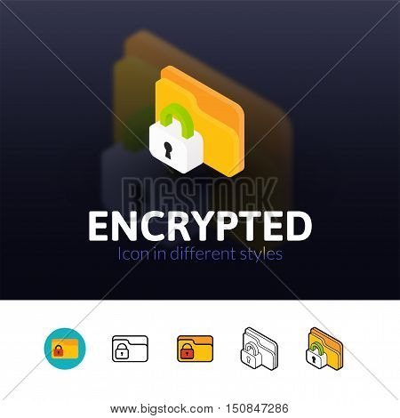 Encrypted color icon, vector symbol in flat, outline and isometric style isolated on blur background