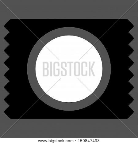 Condom Pack vector icon. Style is bicolor flat symbol black and white colors rounded angles gray background.